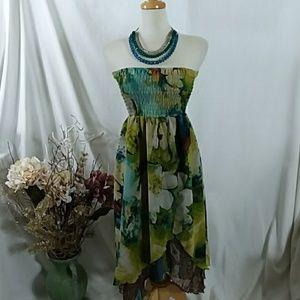Strapless dress or maxi skirt
